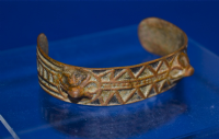 An excellent Early Byzantine bronze decorative inlaid bracelet. SOLD